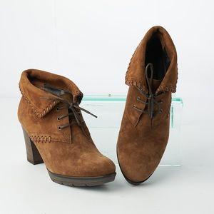Paul Green Brown Suede Leather Lace Up Ankle Boots